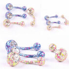 Body Piercing Jewelry Crystal Rhinestone Dangle Button Belly Navel Ring Bar New