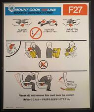 Mount Cook Airline F 27 Air New Zealand SAFETY CARD airline leaflet ee e197