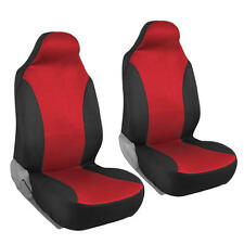 Car Seat Covers High Back Bucket Fit Mesh Polyester Front Pair Black & Red