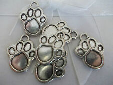 20 X DOG PAW PRINT SILVER COLOR TIBETAN METAL CHARMS/PENDANTS