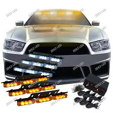 54 Amber & White LED Car Truck Emergency Flashing Warning Flash Strobe Light C90