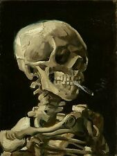 "Vincent van Gogh, antique, Skeleton Smoking, 20""x16"" Canvas Wall Art, 1886"
