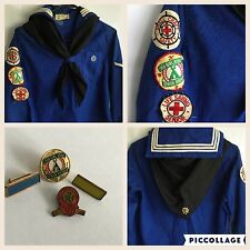 Girl Scouts Mariner Vintage Shirt Long Sleeve With Scarf 1940's Uniform W Extras