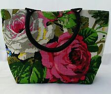 Ladies  Designer JUTE Purse Floral Handbag Wooden Handle Beach weekend Bag
