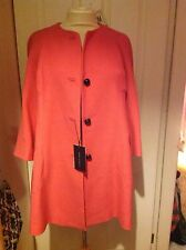 Zara Woman Coral Pink Princess Coat With Royal Blue Silk Lining Xs Frock