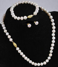 Natural 7-8MM White Akoya Cultured Pearl Necklace Bracelet Earring Set