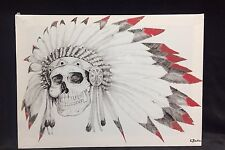 """American Indian Feather Skull canvas picture ready to hang 15x18"""" Inches Wall"""