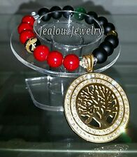 Gold Chunky Lucky Tree Of Life Gemstone Stretch Medallion Bracelet Arm Candy