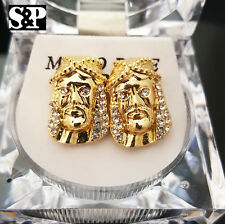 MEN ICED OUT 14K GOLD PLATED HIP HOP CZ JESUS FACE MICRO PAVE RAPPERS EARRINGS