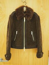£1495 BURBERRY SHEEPSKIN LAMB SHEARLING JACKET COAT LEATHER UK14 US12 IT46 BIKER