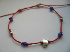 Red string anklet blue & heart & stars & crystal beads karmastring karma tie on