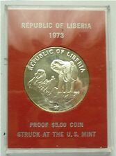 1973 LIBERIA - 5 DOLLARS - AFRICAN ELEPHANT - US MINT - 1 Oz PROOF SILVER CROWN