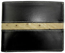 RFID Blocking Vegetable Tanned CALFSKIN LEATHER WALLET BIFOLD OSTRICH Black NEW