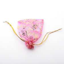50x Hot Sale Hot Pink Leaves Organza Wedding Pouch Gift Bags 9x12cm Findings J