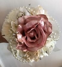 Brooch/Pearl Bouquet Flower girl Bouquet Shabby Chic Vintage Ivory/Dusky Pink 6""