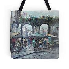 STREET MARKET ~ TOTE BAG w/Exclusive & Lovely Impressionst Painting Design