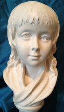 Vintage Houdon Young Child's Head Bust  Sculpture Signed Boy Girl Replica