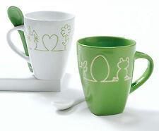 Neu+Tasse+Becher+Grün+Ostertasse+Osterbecher+Set+4tlg+Keramik+mit Löffel+Becher+