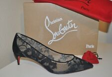 Christian Louboutin SARAMOR Lace Tulle Pointy Toe Pump Shoe Black Suede 40 - 9.5