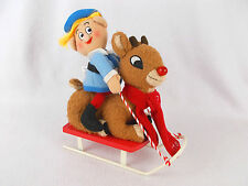 Rudolph the Red Nosed Reindeer w/ Hermey on Sled Plush Christmas Home Decor