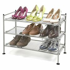 Seville Classics Shelving Floor Shoe Rack Storage 3 Tier Iron Display Organizer