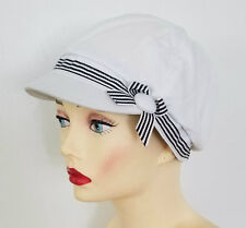 CHEMO CAP White Riding Hat with Decorative Trim  Cancer HEADWEAR  FREE SHIPPING!