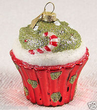 "Cupcake Glass Christmas Ornament Candy Cane Golden Glitter Decorated 3.5""x 3"""