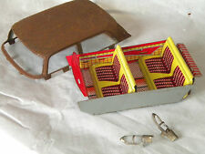 Vintage Joustra tinplate Peugeot 404 parts roof and interior rear light shells