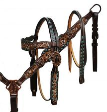 WESTERN HORSE BLING! BRIDLE HEADSTALL W / 7' SPLIT REINS & BREAST COLLAR PLATE