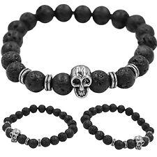 Women Men Golden Skull/Black Lava Rock Beaded Shamballa Stretch Energy Bracelet