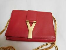 AUTH YSL SAINT LAURENT RED LEATHER GOLD Y-LIGNE CROSS BODY