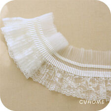 1yd Vintage White Pleated Organza Net Lace Edge Trim Gathered Wedding Sewing DIY