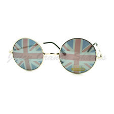 United Kingdom British Union Flag Printed Lens Circle Frame Sunglasses
