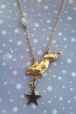 Vintage Style Moon Hare Rabbit Necklace with Opalite & Star - Brass Gold Boho
