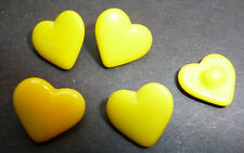 5 Vintage 1.4cm Bright Yellow Glass Heart Buttons