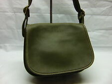 Vtg COACH Classic Pouch SADDLE Green Leather Convertible Flap Purse Bag USA 9170