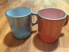 Vintage Anchor Fire King Mugs Iridescent Shiny Red & Blue Stackable