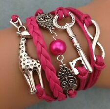 NEW Fashion Jewelry RoSF deer Owl Key Charm Tibet silver Leather Bracelet DEF10