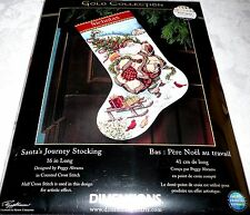 """Dimensions Gold Collection Counted Cross Stitch STOCKING Kit SANTA'S JOURNEY 16"""""""