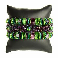 BR180-105 Magnetic Clasp Bugle Beads Czech Green Crystal Bracelet Cuff Guatemala
