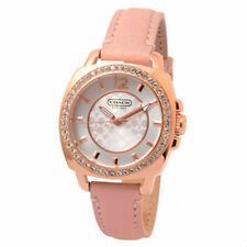 COACH WOMEN'S PINK LEATHER ROSE GOLD TONE BOYFRIEND WATCH  14501753