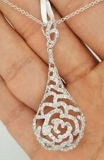 2.19 Ct 14K WHITE GOLD ROUND DIAMOND HANGING FLOWER CLUSTER 3D PENDANT NECKLACE