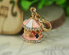 XS Merry-go-round Carousel Small Keyring Rhinestone Crystal Pendant Fob Keychain