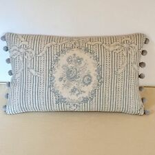"""NEW Kate Forman Cameo Ribbons Blue Fabric 20""""x12"""" Pom Pom or Piped Cushion Cover"""