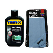Rain X Anti Fog Glass Mirror Steam Mist Treatment 200ml + Microfibre Glass Cloth
