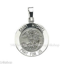 14K Pretty 18mm 2.3 Grams White Gold St St. Saint Michael Medal Pendant