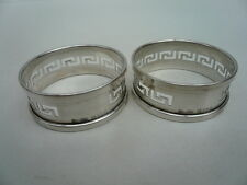 Silver napkin rings, sterling, anglais, paire, grec clé, hallmarked 1930