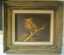 VINTAGE ORIGINAL OWL OIL PAINTING BY H. KING SIGNED W/ APPRAISAL REGISTRATION