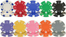 NEW 500 Piece Striped Dice 11.5 Gram Poker Chips Bulk Lot Pick Colors