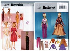"Butterick 3419 & 3931 Barbie 11 1/2"" Doll Dress Clothes Pattern s Retired Uncut"